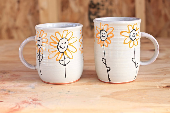 Orange Flower Mugs