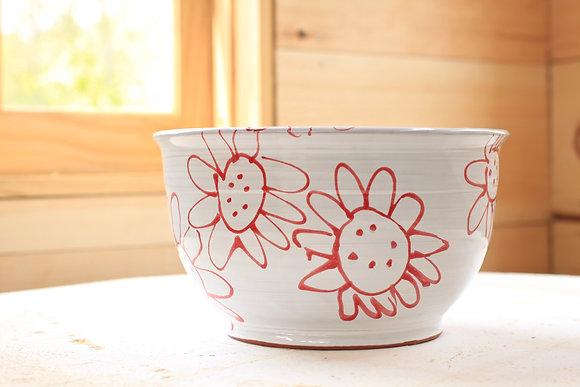 Red Flower Serving Bowl