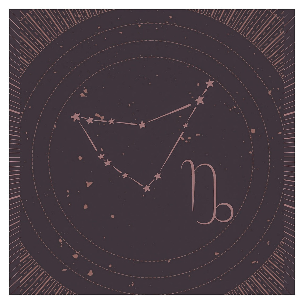 Celestial Image with Capricorn constellation and glyph