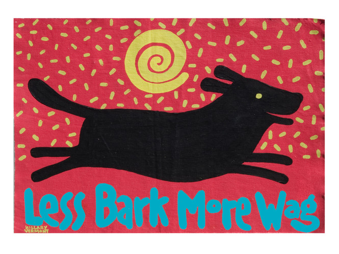 Less Bark More Wag  turquoise type newes