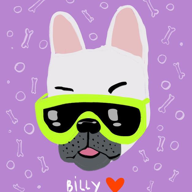 Custom Digital Pet Portrait - Glasses I