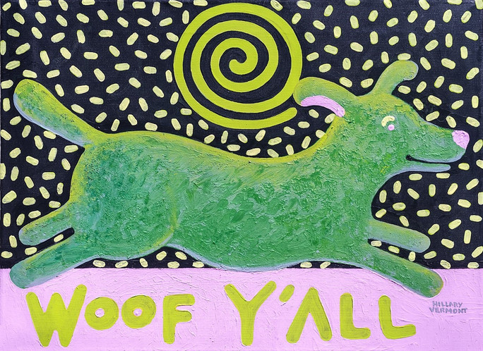 Woof Y'All green dog with pink ground 20