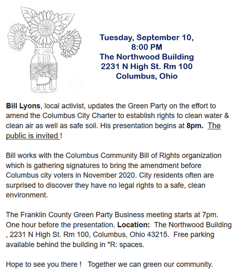 OHCRN's Bill Lyons speaking Tuesday Sept 10 in Columbus