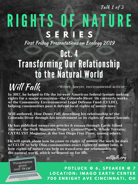 Will Falk Speaks about Community Rights/Rights of Nature in Cincinnati on October 4, 2019