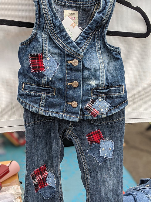 Patch Denim Vest/Jeans Set - Size 3T