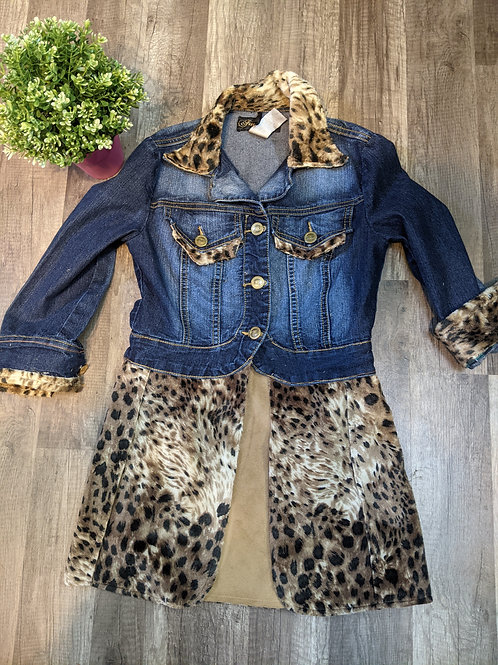 Upcycled Animal Print Denim Jacket