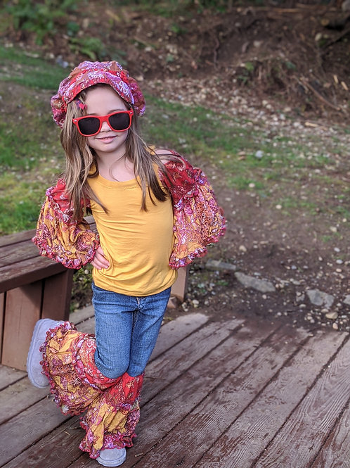 Boho Bell Bottom Set- Hat, shirt and Jeans- Size 4T
