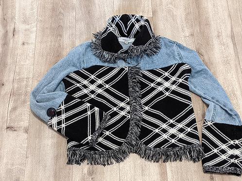 Upcycled Denim Sweater Jacket - Women's Small