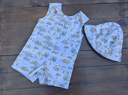 Boys English Style Overalls with Hat