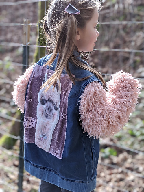 Upcycled Llama Jacket with Textured Sleeves - Size 10