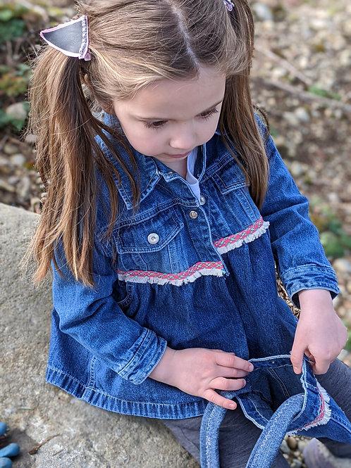 Upcycled Denim Jacket and Purse - Size 4/5