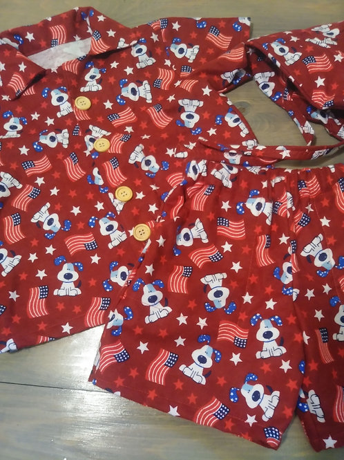 4th of July Boys 2 Piece Set with Hat