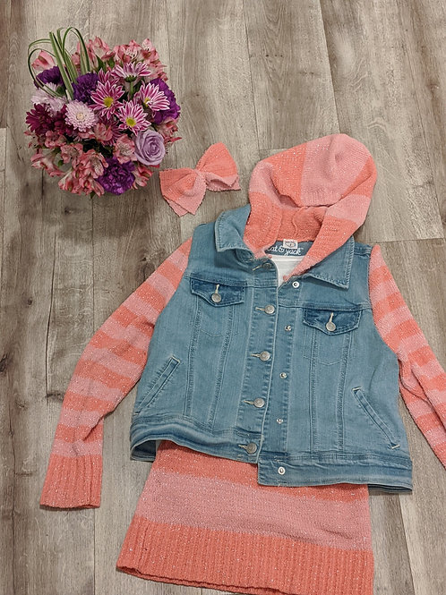 Jean Vest and Sweater with Mini Skirt (Size 8-10)