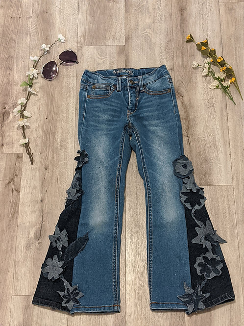 Upcycled Flared Denim Jeans- Size 7