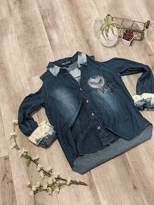 Heart Breaker Denim Shirt - Girls 14/16