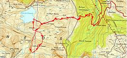 Raquettes à la crête de Laderas de Cantal, secteur du lac d'Estaens, depuis Sansanet