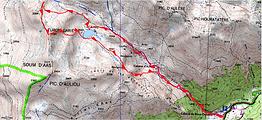 Randonnée raquettes au Turon-Garié, par la cabane et le lac d'Aule, et le col de Turon-Garié,depuis Bious-Oumette. Panorama sur le Pic Gaziès, pic d'Aule, Soum d'Aas, pic d'Auliou, pic du Midi d'Ossau etc... Trace GPS, carte IGN, topo, itinéraire, photos.