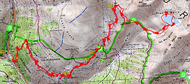 randonnée aux lacs Marie dans le Mercantour. Carte IGN 1/25