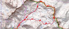 Randonnée et ascension par les crêtes depuis le col de Pouriac, le Pel Brun, et le Mont Aiga. Départ depuis le camp des Fourches. Trace GPS, carte IGN, topo, itinéraire, et photos. Très belle boucle avec le retour par les lacs de Morgon.
