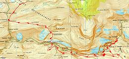 Randonnée et ascension du pic du Marboré par l'épaule du Marboré et les trois pics de la Cascade.carte IGN 1/25