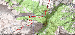 Randonnée au col de Losque au départ du Bénou,cabane les Bordes, et par la crête de Sède de Pan. Carte IGN 1/25