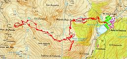 Trace GPS randonnée et ascension Antécime de Fenias depuis Baños de Panticosa