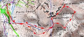 randonnée et ascension du Mont Pierre Châtel et du Bec de Marseille carte IGN 1/25