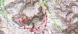 randonnée et ascension de Pointe Côte de l'Âne par Gialorgues. Carte IGN 1/25