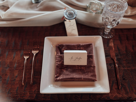 Blush Velvet and Gold Farm Table Decor