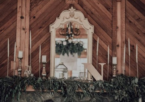 Romantic Gold and Greenery Mantel
