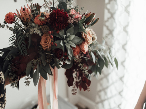 Rich Warm Florals and Succulents and Greenery Bridal Bouquet