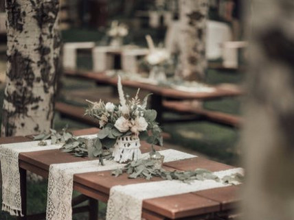 Bohemian Reception Picnic Table Decor