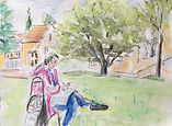 15 juin 2020. Parc, Bures-sur-Yvette. Croquis aquarellé.