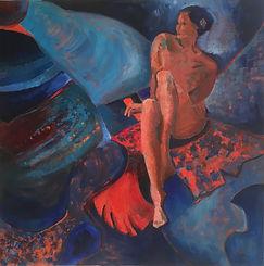 Femme en bleu, 2017, huile sur châssis, 80 cm x 80 cm.