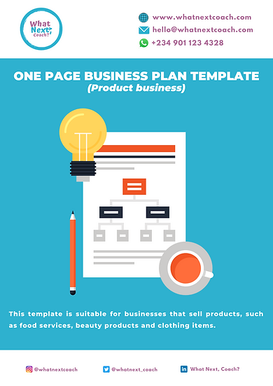 One Page Business Plan ( Product Business)
