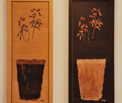Quadros marchetados com vaso de flores