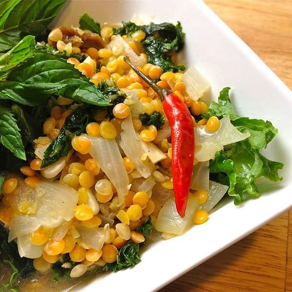 SPICY THAI COCONUT RED LENTIL KALE DAHL.