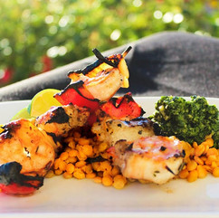 GINGERED_SHASTA_LENTIL_DAL,_PRAWN_SKEWER