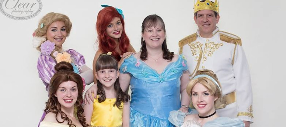 Smiling Family With Beauty, Rapunzel, Mermaid and Cinderella