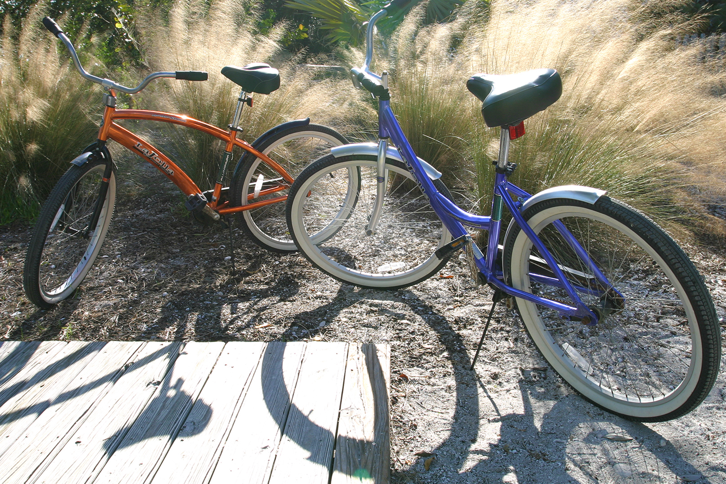 Two beach bikes are included