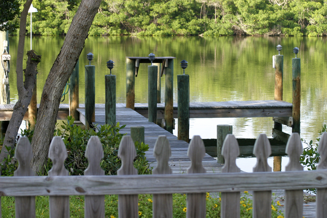 View of the dock and fenced area