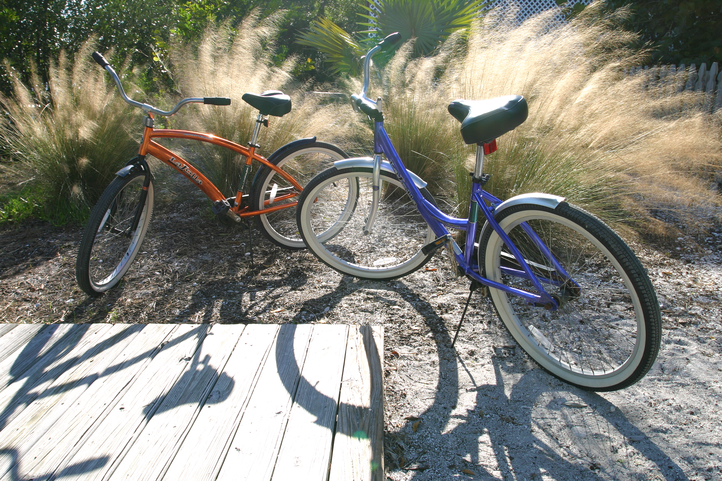 Two beach bikes are provided