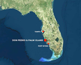 Space view of don pedro island and palm island
