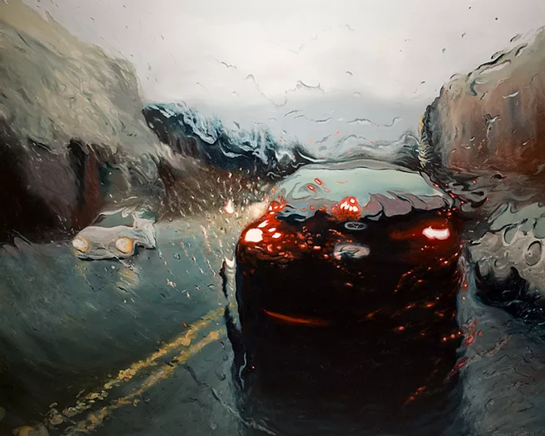 Postill Artworks: Car in the rain painting