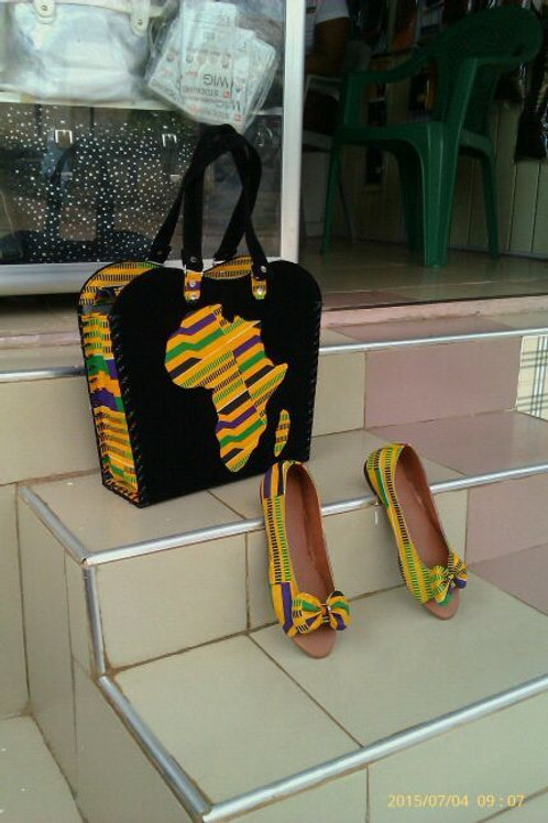 Best Quality Afrikan Dress Bag with to match open-toe flats