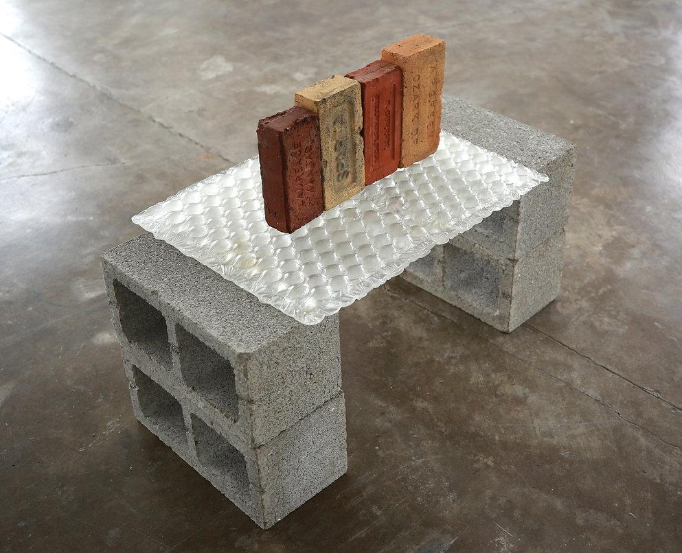 "  ""Patois""  Cinderblocks, Cast Glass, Bricks.  24"" x 35"" x 19"" (61 x 89 x 48cm), 2021.  "