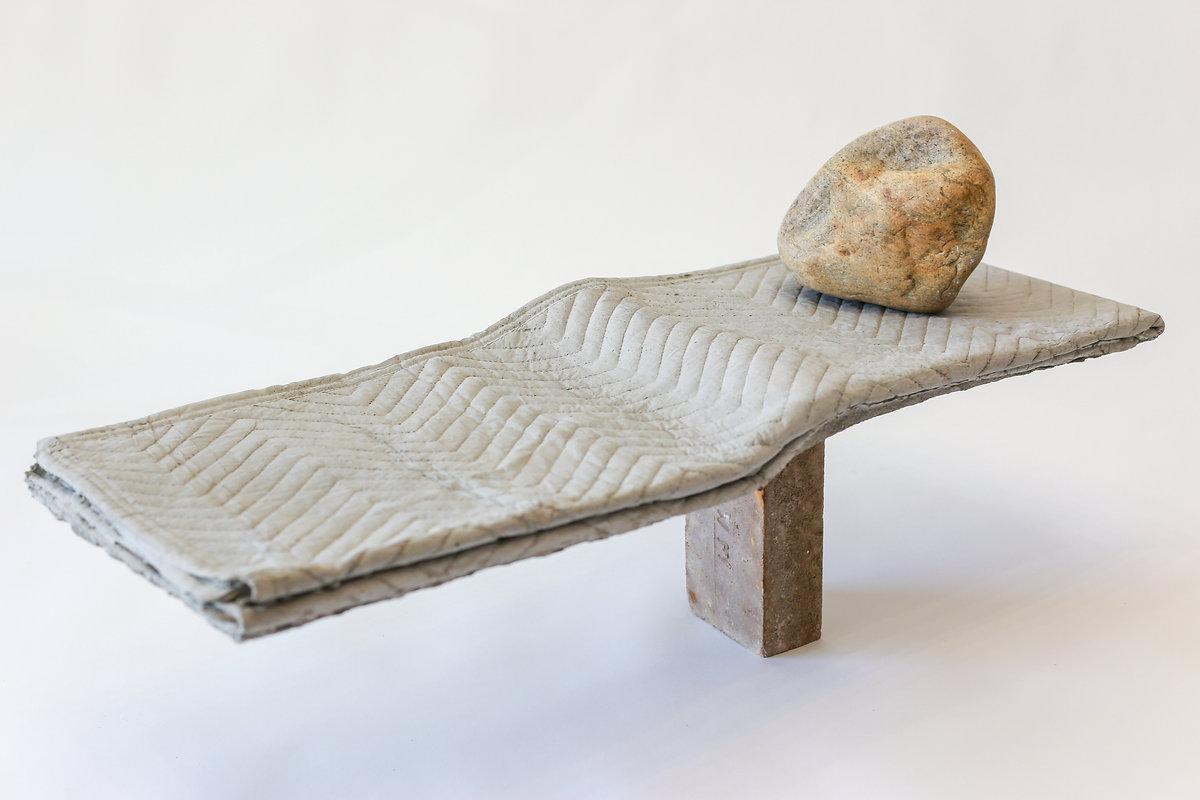 """Andrew Orloski - """"Untitled"""" 2020. Cast Concrete, Found Brick and River Stone."""
