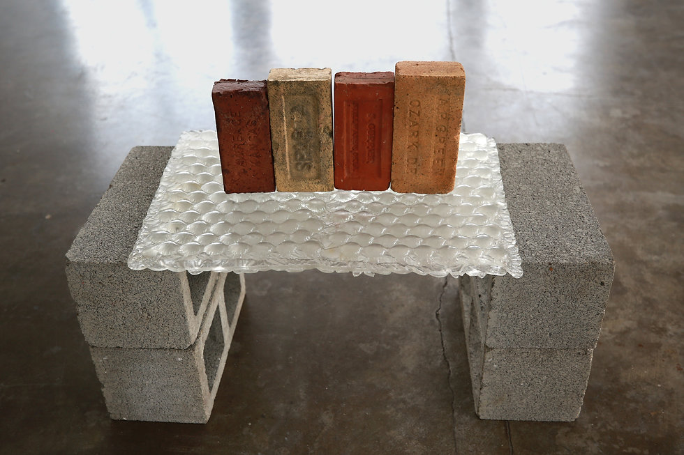 "​  ""Patois""  Cinderblocks, Cast Glass, Bricks.  24"" x 35"" x 19"" (61 x 89 x 48cm), 2021.  ​"