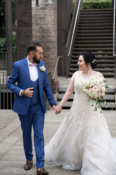 walking wedding photo