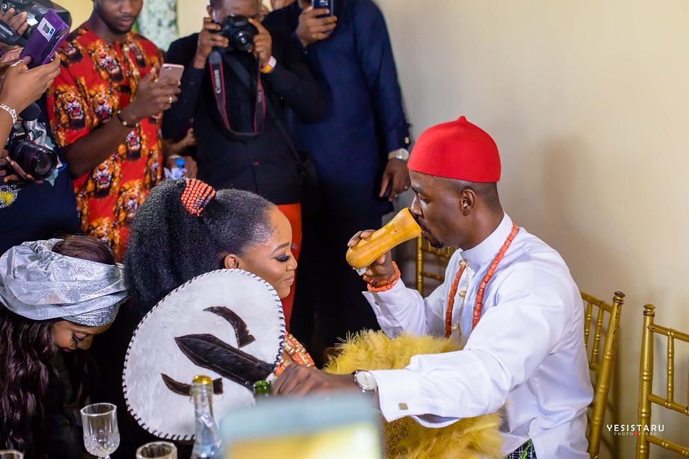 Chinju Nwankwo and husband Obinna Udora  - Igbo Traditional Bride